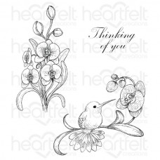 Heartfelt Creations Botanic Orchid Bouquet Cling Stamp Set