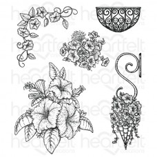 Heartfelt Creations Classic Petunia Bouquet Cling Stamp Set