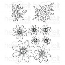 Heartfelt Creations Peacock Paisley - Delightful Daisies Cling Stamp Set