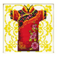 NEEDLE ART WORLD NO COUNT CROSS STITCH ON WHITE AIDA 14 male geisha rose 12 x 12cm