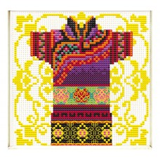 NEEDLE ART WORLD NO COUNT CROSS STITCH ON WHITE AIDA 14 male geisha mauve 12 x 12cm