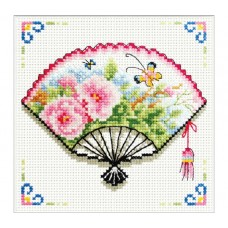 NEEDLE ART WORLD NO COUNT CROSS STITCH ON WHITE AIDA 14 rose fan 12 x 12cm