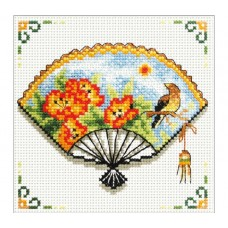 NEEDLE ART WORLD NO COUNT CROSS STITCH ON WHITE AIDA 14 nasturtium fan 12 x 12cm