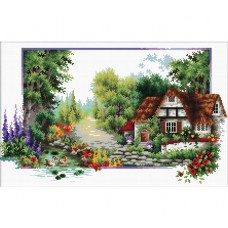 NEEDLE ART WORLD NO COUNT CROSS STITCH ON WHITE AIDA 14 english cottage stream 40 x 24cm