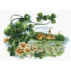 NEEDLE ART WORLD NO COUNT CROSS STITCH ON WHITE AIDA 14 scenery clover 35x25cm