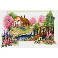 NEEDLE ART WORLD NO COUNT CROSS STITCH ON WHITE AIDA 14 spring cottage 47 x 32cm