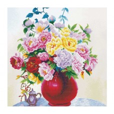 NEEDLE ART WORLD NO COUNT CROSS STITCH ON WHITE AIDA 14 cabbage roses in a vase 40 x 40cm