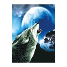 NEEDLE ART WORLD NO COUNT CROSS STITCH - PRINTED AIDA 11 howling wolf 46.4 x 63cm