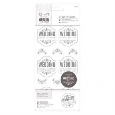 "Papermania 4 x 8"" Die-cut Sentiments (204pcs) - Wedding - EI Special/Silver/White"