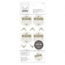 "Papermania 4 x 8"" Die-cut Sentiments (204pcs) - Wedding - WI Special/Gold/White"