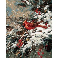 Plaid paint by number kit - Cardinals in Winter 21697