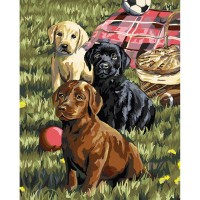 Plaid paint by number kit - Puppy Picnic 22079