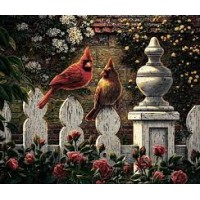 Plaid paint by number kit - Cardinals on the Fence 13390