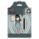 Santoro Gorjuss Girl Rubber Stamps - Tweed - Waiting
