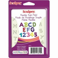 Sculpey - Silicone Flexible Reusable Push Mold Letters & Numbers