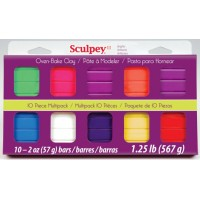 Sculpey - Sampler Clay 10x Most Popular Colours - Brights