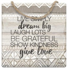 Splosh Tribal - Hanging Sign - Live Simply Dream Big