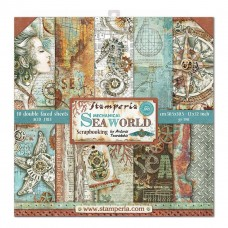 "Stamperia Block 10 sheets 8x8"" Double Sided Sea World"