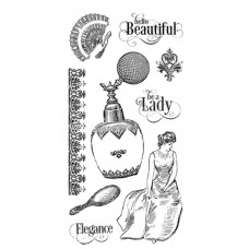 Graphic 45 Rubber Cling Stamp Set - Portrait of a Lady 2