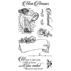 Graphic 45 Rubber Cling Stamp Set - Mon Amour 1