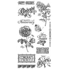 Graphic 45 Rubber Cling Stamp Set - Time to Flourish 2