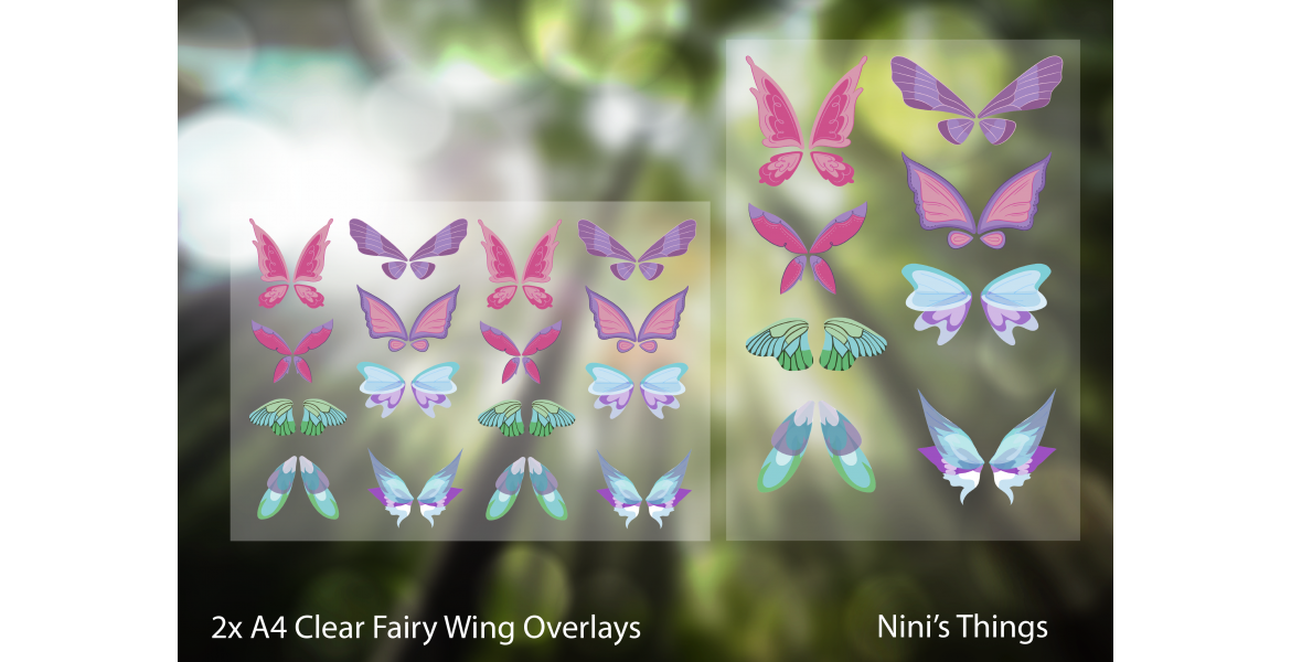 Nini's Things Clear Overlays 2x A4 Sheets Fairy Wings