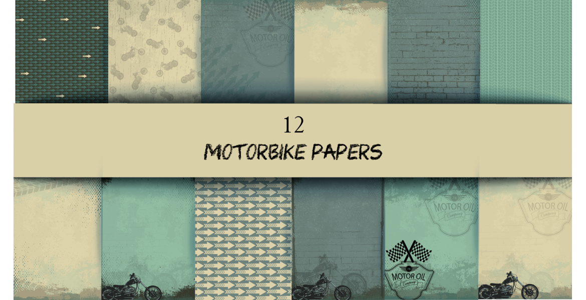 Nini's Things Paper Kit - Motorbikes 12x A4 pages Download
