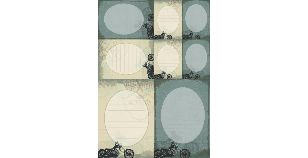 Nini's Things Paper Kit - Motorbikes - Note Cards x5