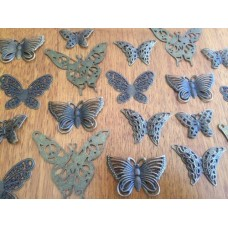 10 Mixed Bronze Butterfly Charms