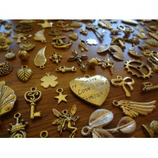 10 Mixed Gold Tone Charms