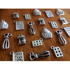 10 Mixed Silver Baking Charms