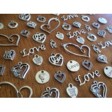 10 Mixed Silver Love Heart Charms