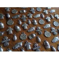 10 Mixed Silver Sport Charms