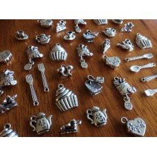 10 Mixed Silver Tea Party Charms