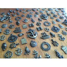 10 Mixed Bronze Nautical Charms