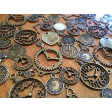 10 Mixed Bronze Clock Charms