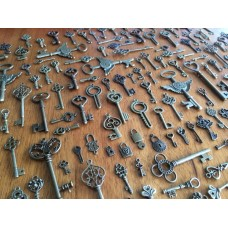 10 Bronze Large Key Charms