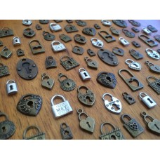 10 Mixed Bronze & Silver Lock Charms