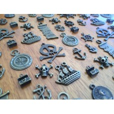 10 Mixed Bronze Pirate Charms