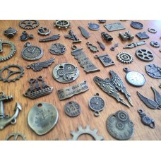 10 Mixed Bronze Steampunk Charms