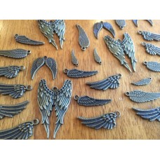 10 Mixed Bronze Wing Charms
