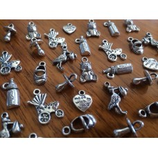 10 Mixed Silver Baby Charms