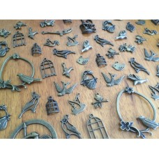 10 Mixed Bronze Bird Charms