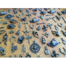 10 Mixed Bronze Cowboy Charms