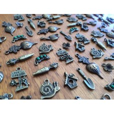 10 Mixed Bronze Garden Charms
