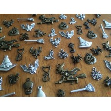 10 Mixed Bronze & silver Halloween Charms