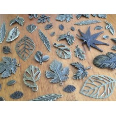 10 Mixed Bronze Leaf Charms