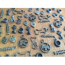 10 Mixed Bronze Pet Charms