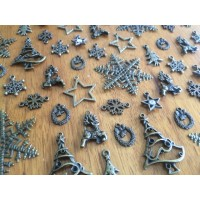 10 Mixed Bronze Christmas Charms