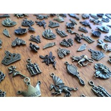 10 Mixed Bronze Fairytale Charms